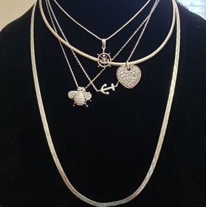 Jewelry - 5pcs 925 Sterling Silver Wholesale Necklace Lot